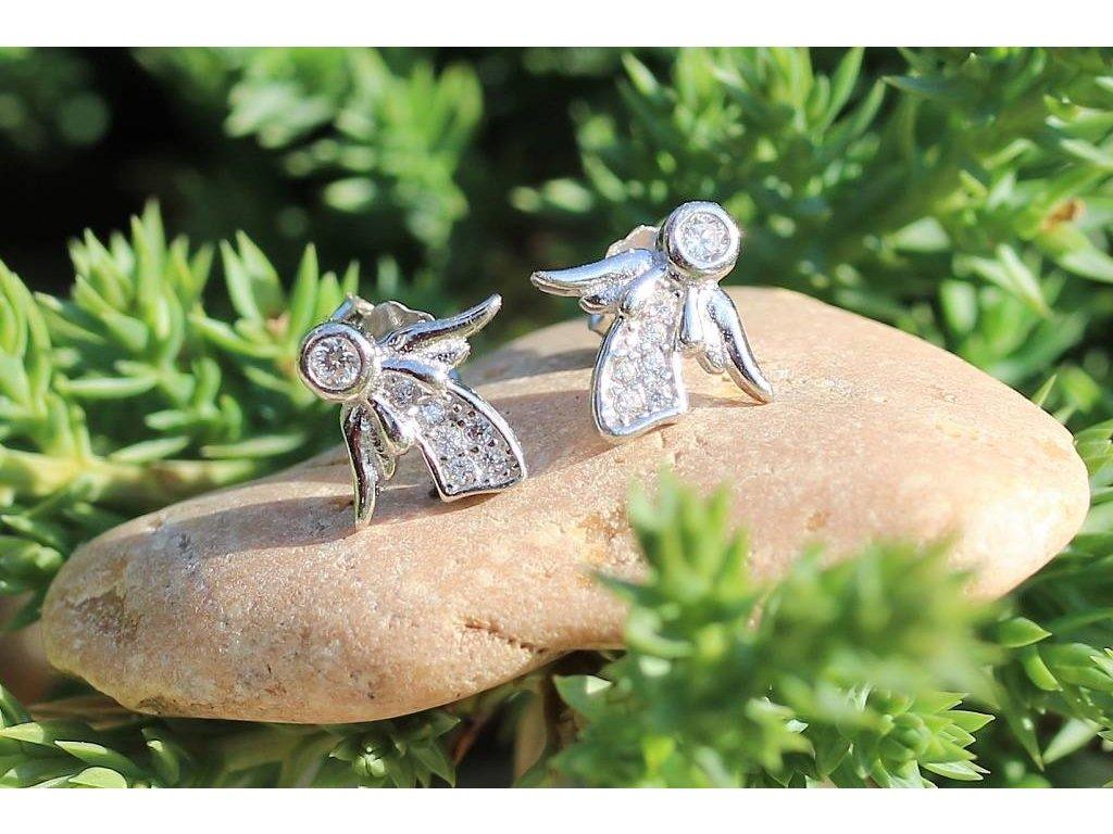 stříbrné náušnice andílci
