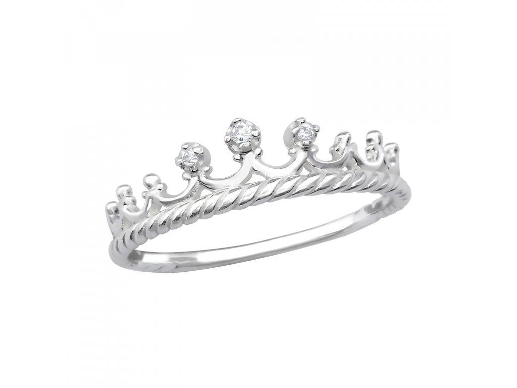 Stříbrný korunkový prsten se zirkony