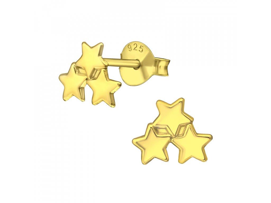 Stříbrné náušnice HVĚZDIČKY GOLD