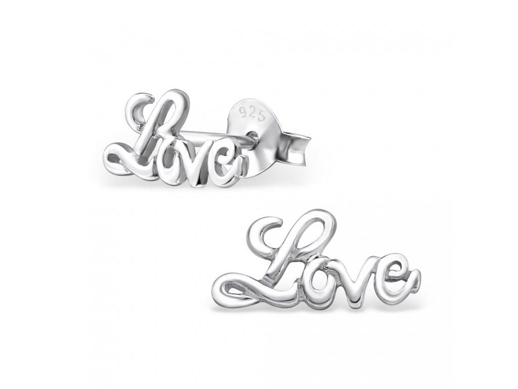 Stříbrné náušnice LOVE