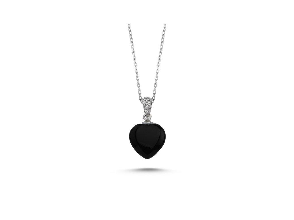 Stříbrný náhrdelník SRDCE ONYX