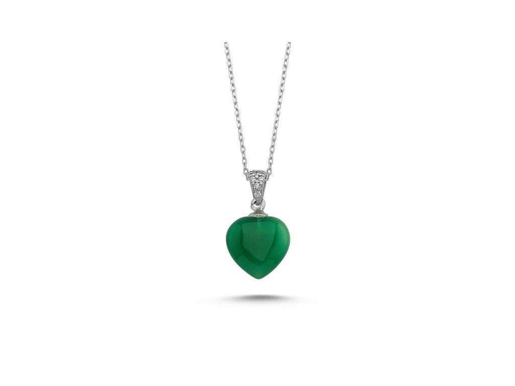 Stříbrný náhrdelník SRDCE AGATE GREEN