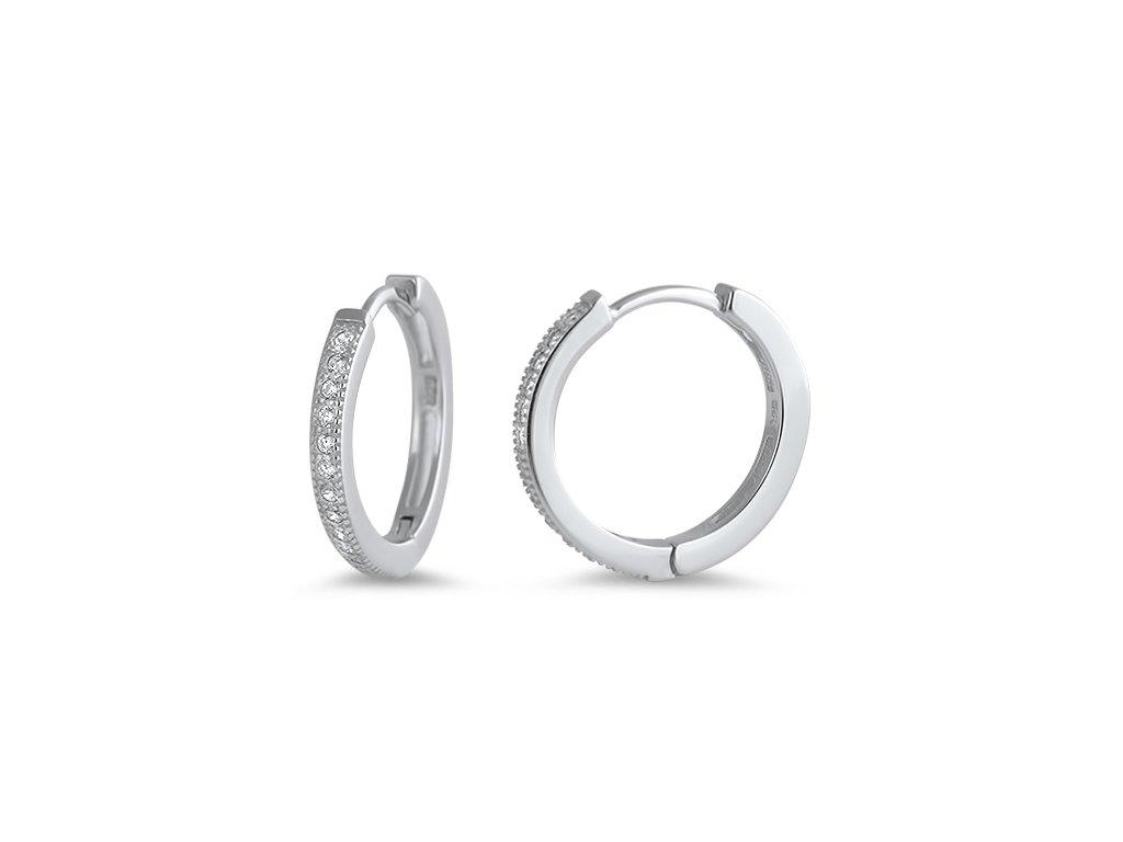 Luxusní stříbrné náušnice KROUŽKY se zirkony