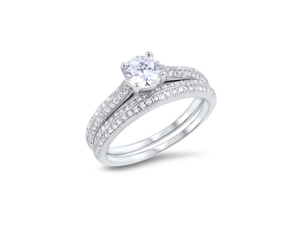 Dva stříbrné prsteny se zirkony