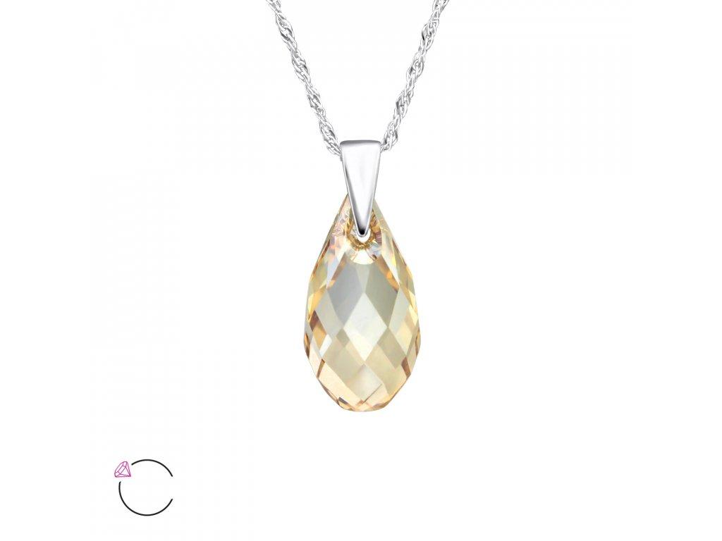 1976 Stříbrný náhrdelník SLZA Swarovski ZLATÝ STÍN Ag 925  1 ad908006bbb