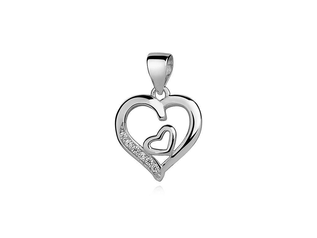 Stříbrný přívěsek SRDCE V SRDCI od OLIVIE. Dárek k Valentýnu.