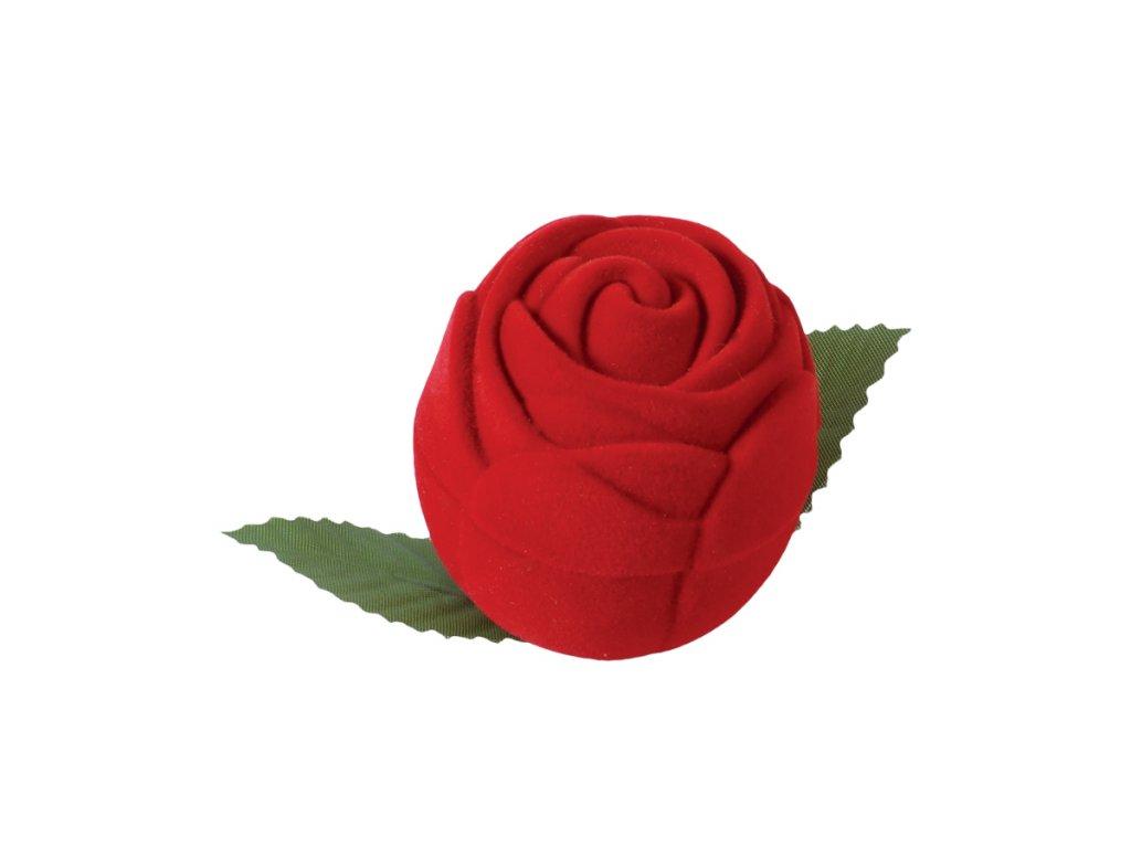 Dárková sametová červená krabička růže na prsten