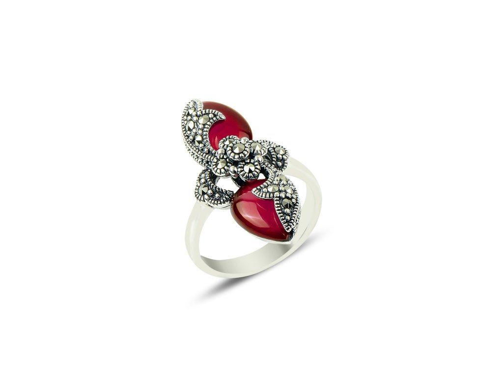 1f540aad4 2126 Masivní stříbrný prsten Marcasite & Agate Ag 925; 7,08 g ...