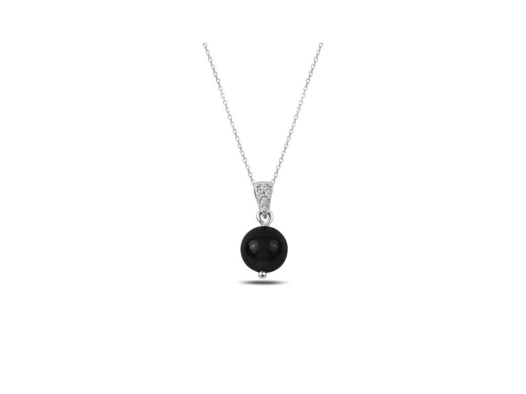 Stříbrný řetízek s černou kuličkou