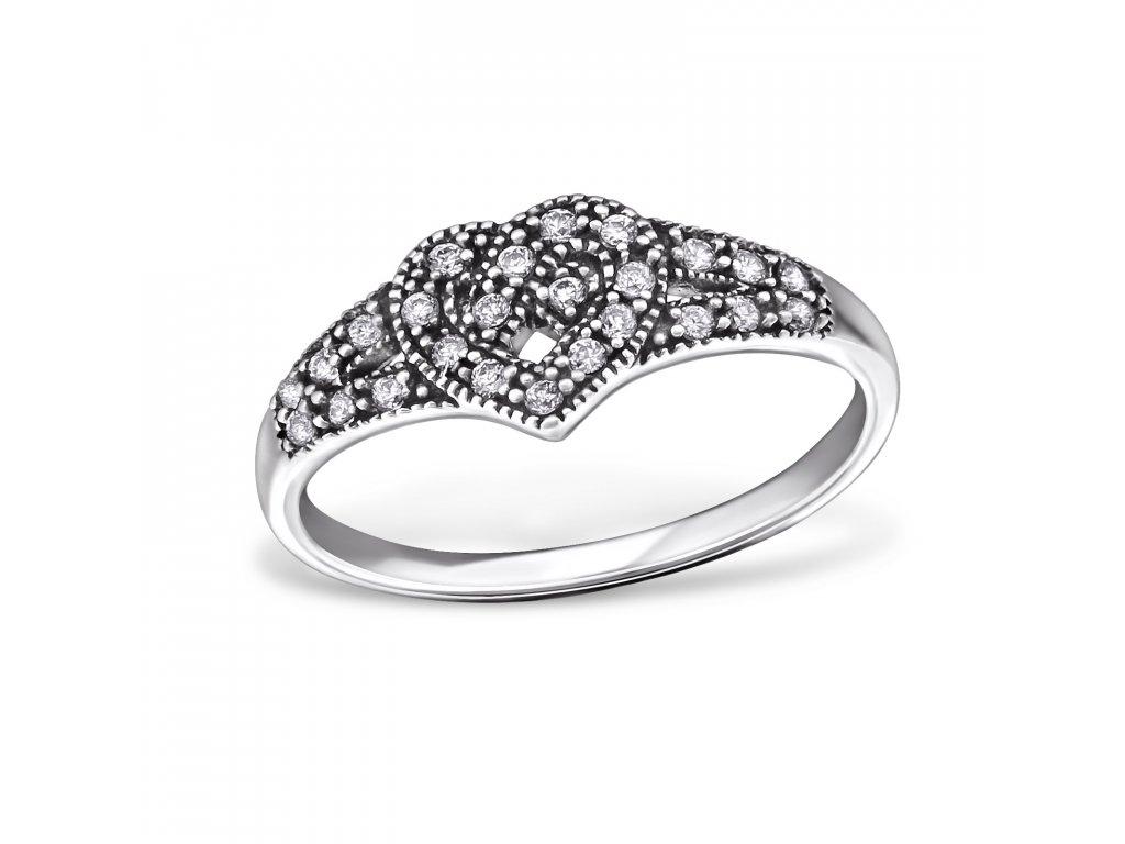 stříbrný prsten keltské srdce se zirkony oxidováno