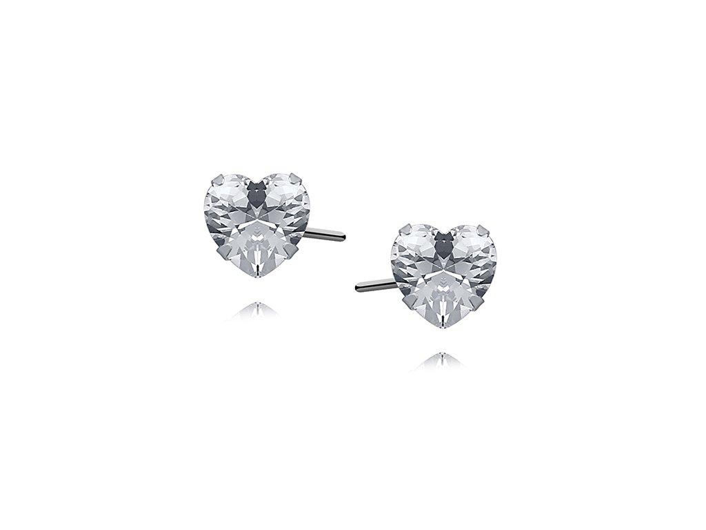 40ad8aa72 2203 Zirkonové srdce - stříbrné náušnice Ag 925; 0,9 g. - Stříbrné ...