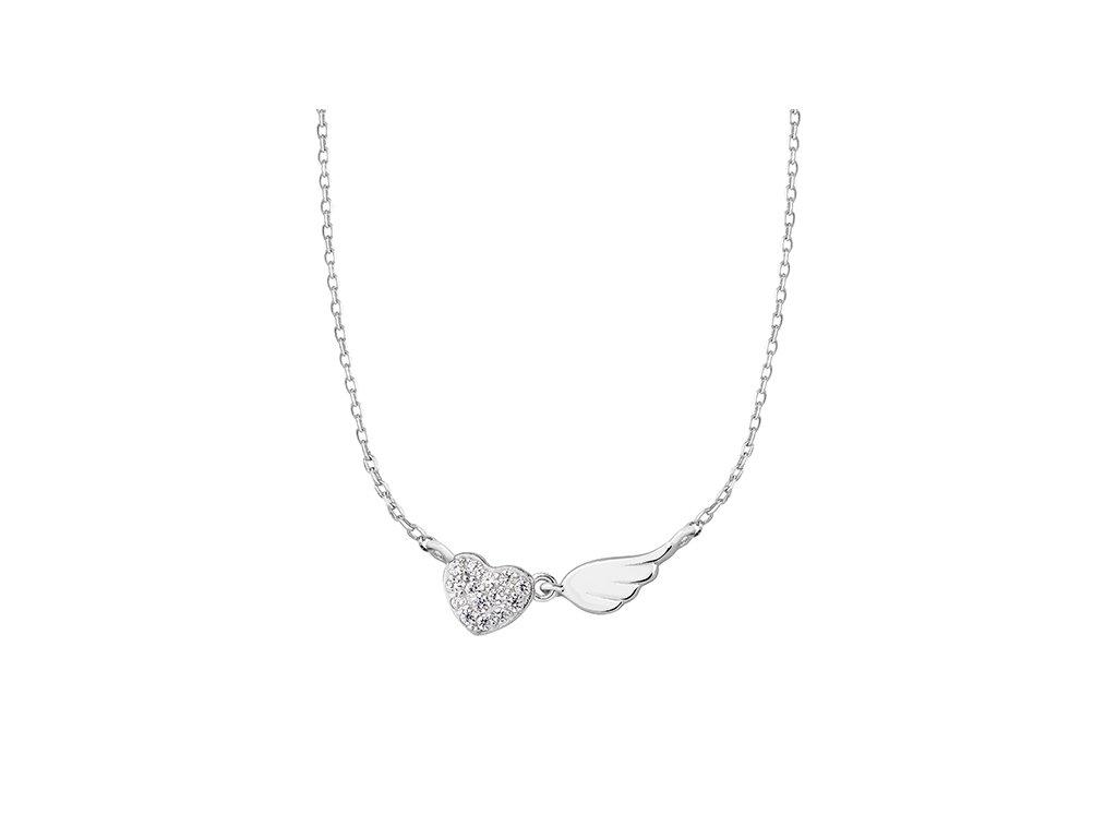 Stříbrný řetízek SRDCE s andělským křídlem