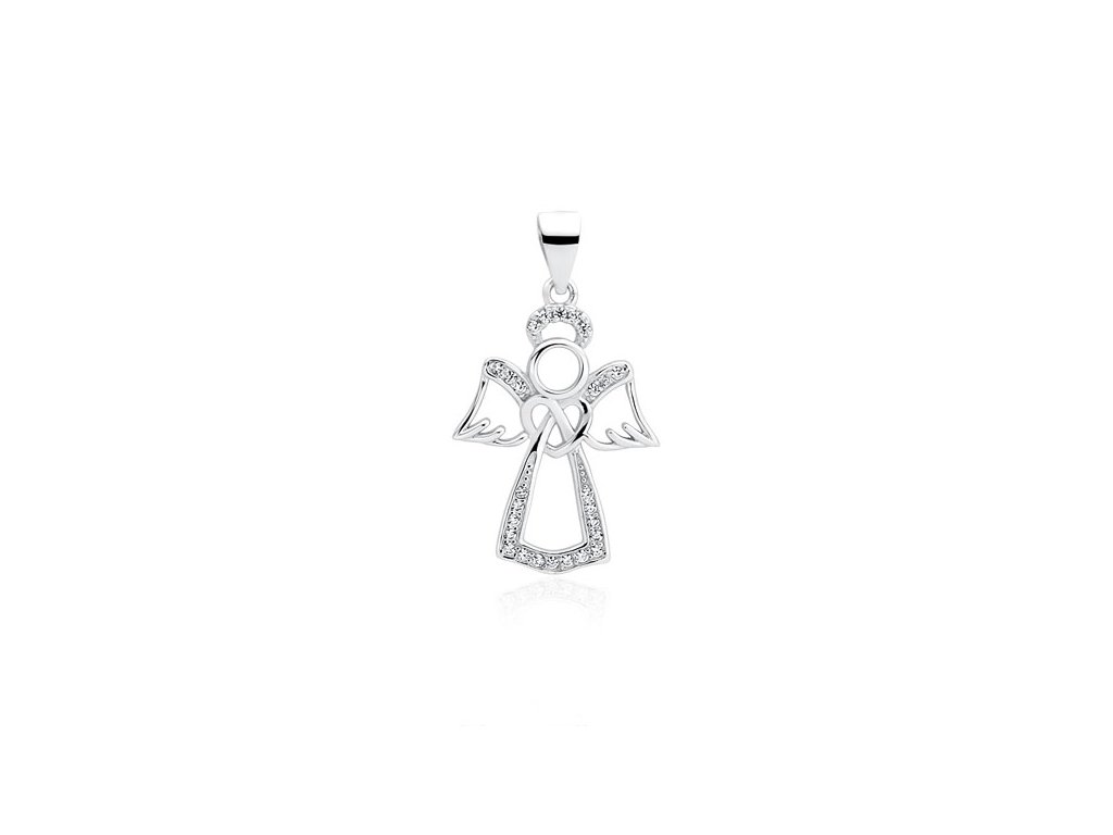 15e5857c7 2285 Stříbrný přívěsek ANDĚL se zirkony Ag 925; 1,5 g. - Stříbrné ...