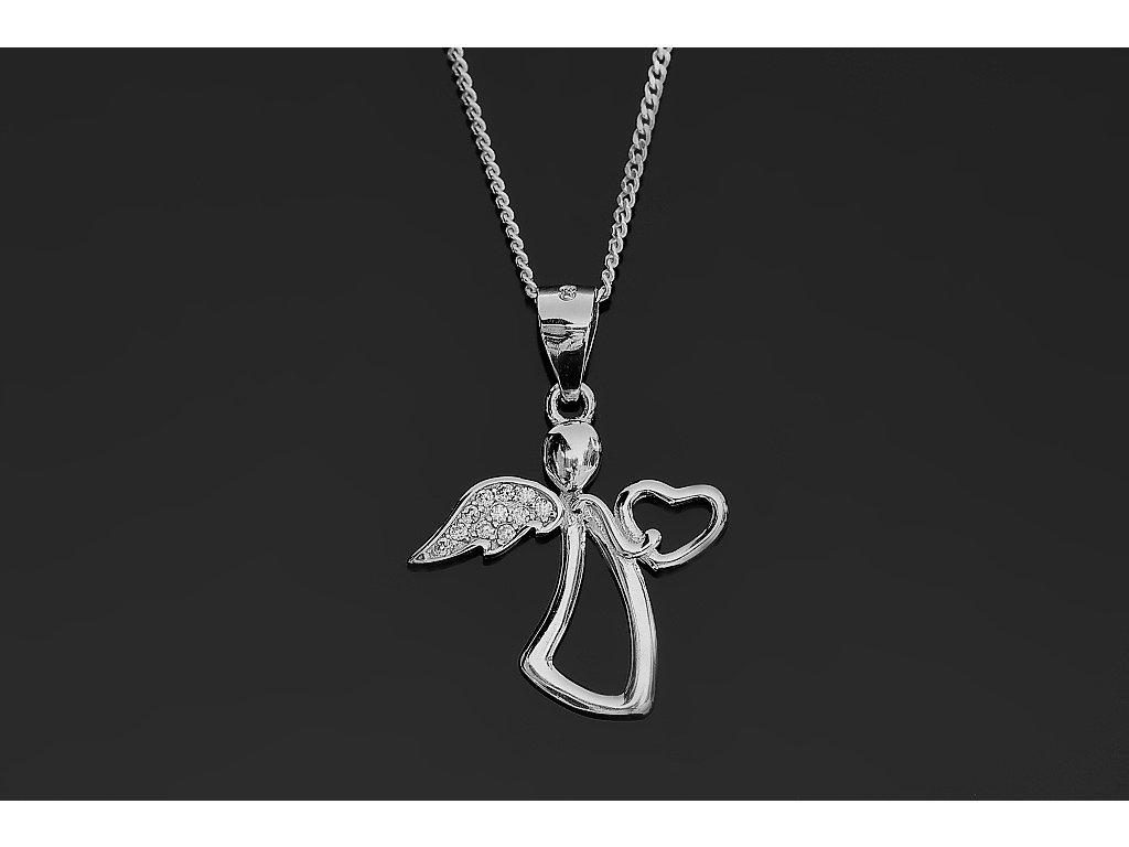 8676ade47 2287 Stříbrný náhrdelník ANDĚL se srdíčkem 40 cm Ag 925; 2,6 g ...