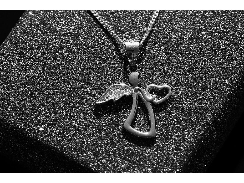 bafce04bb 2288 Stříbrný náhrdelník ANDĚL se srdíčkem 50 cm Ag 925; 2,73 g ...