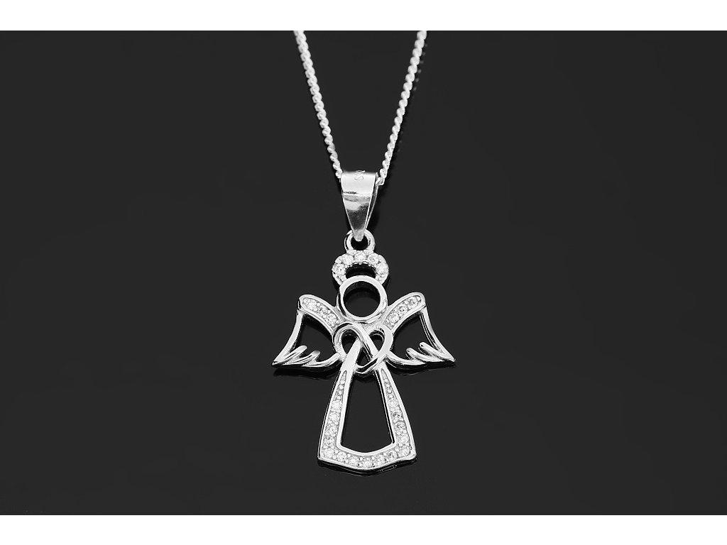 ac244c658 2289 Stříbrný náhrdelník ANDĚL se zirkony 45 cm Ag 925; 2,93 g ...