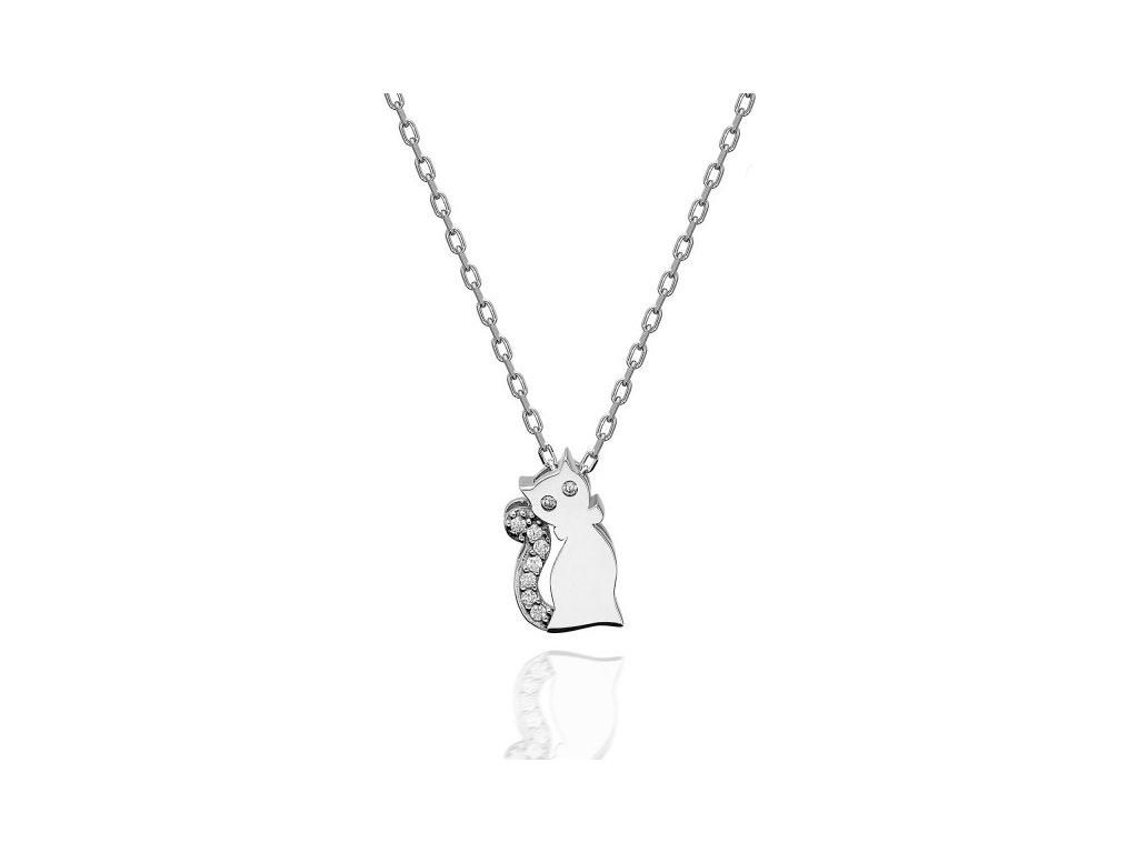 Stříbrný náhrdelník KOČKA se Swarovski krystaly od OLIVIE. Luxusní dárek pro ženu.