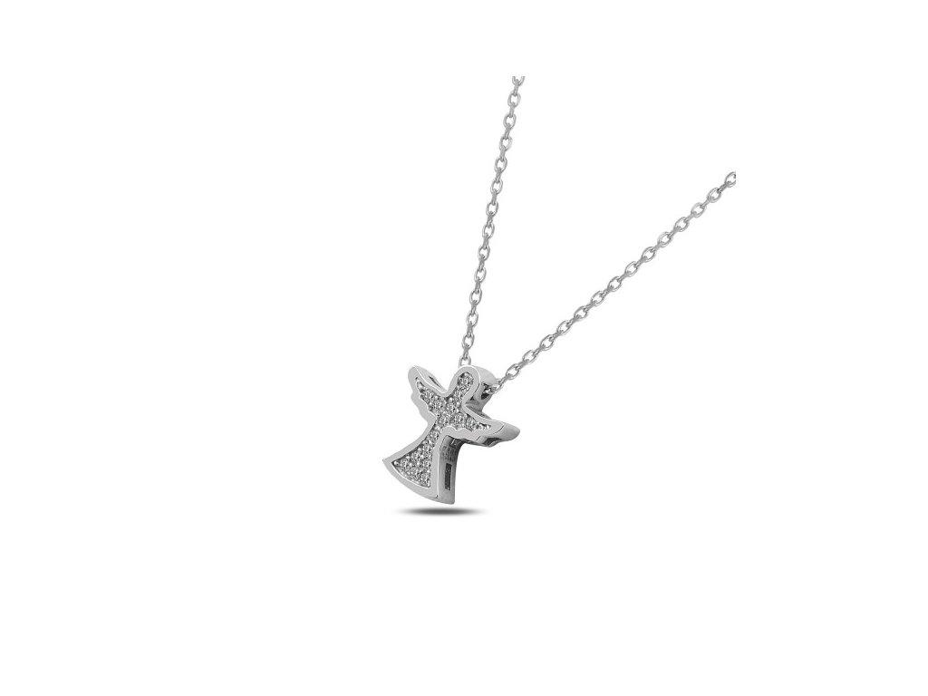 254f88d89 2326 Stříbrný náhrdelník ANDĚL se Swarovski krystaly Ag 925; 2,08 g ...