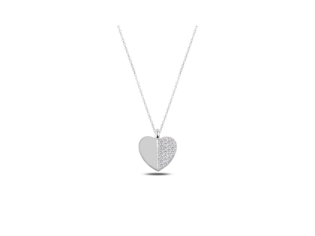 5145add8e 2332 Stříbrný náhrdelník SRDCE Ag 925; 1,86 g. - Stříbrné šperky OLIVIE
