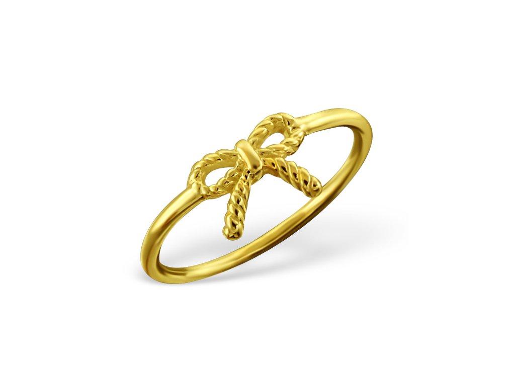 Stříbrný prsten mašle gold OLIVIE.CZ