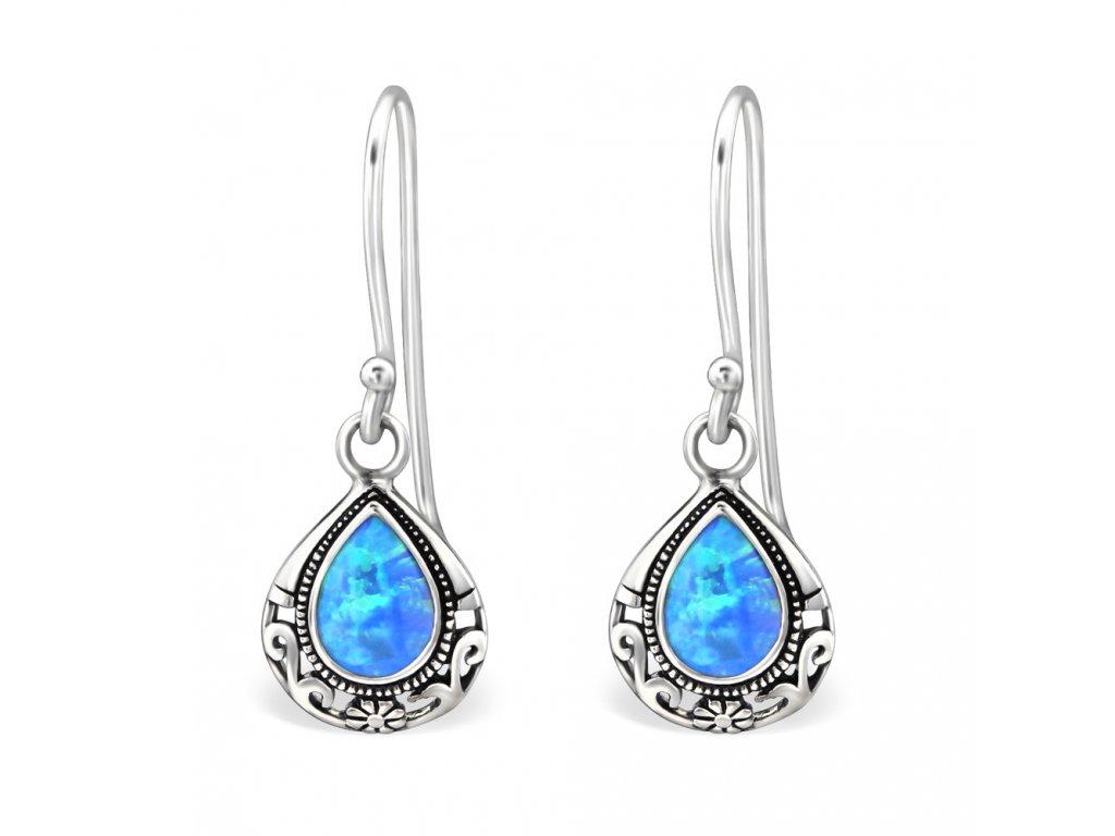 Stříbrné náušnice OPAL BLUE