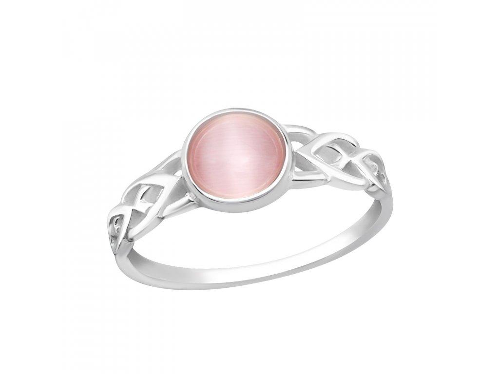 Stříbrný prsten RŮŽOVÉ KOČIČÍ OKO