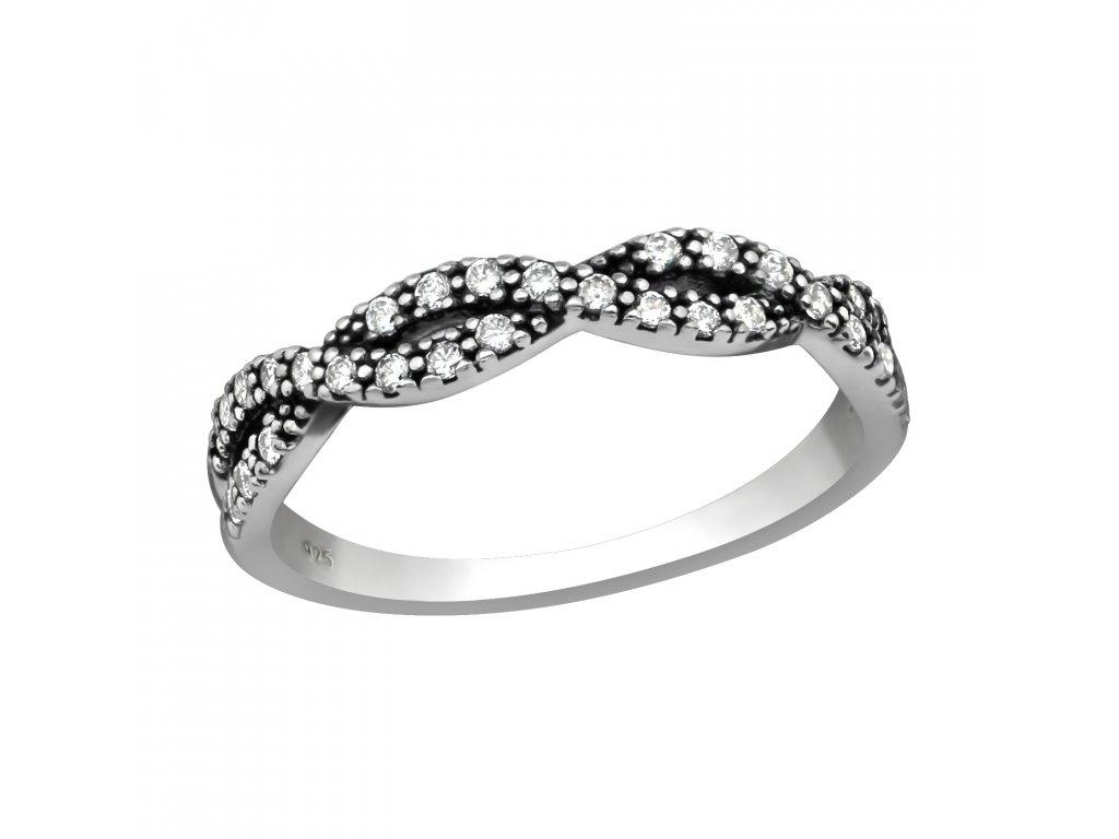 Stříbrný propletený prsten se zirkony