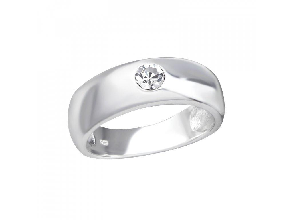 Stříbrný prsten s krystalem