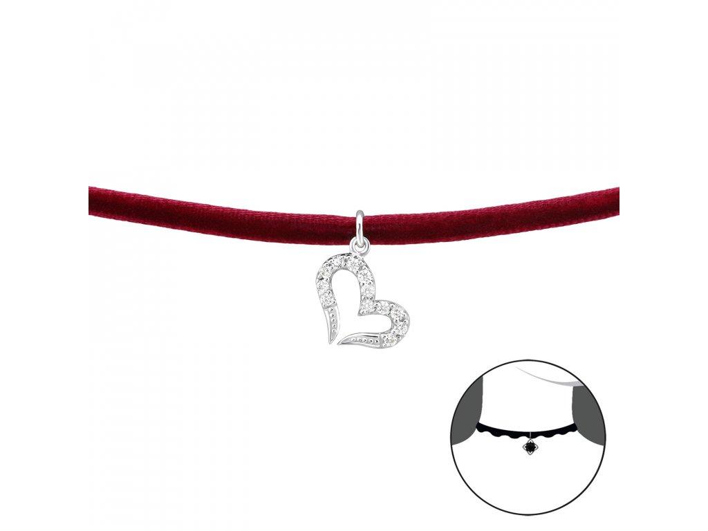 CHOKER náhrdelník SRDCE se zirkony