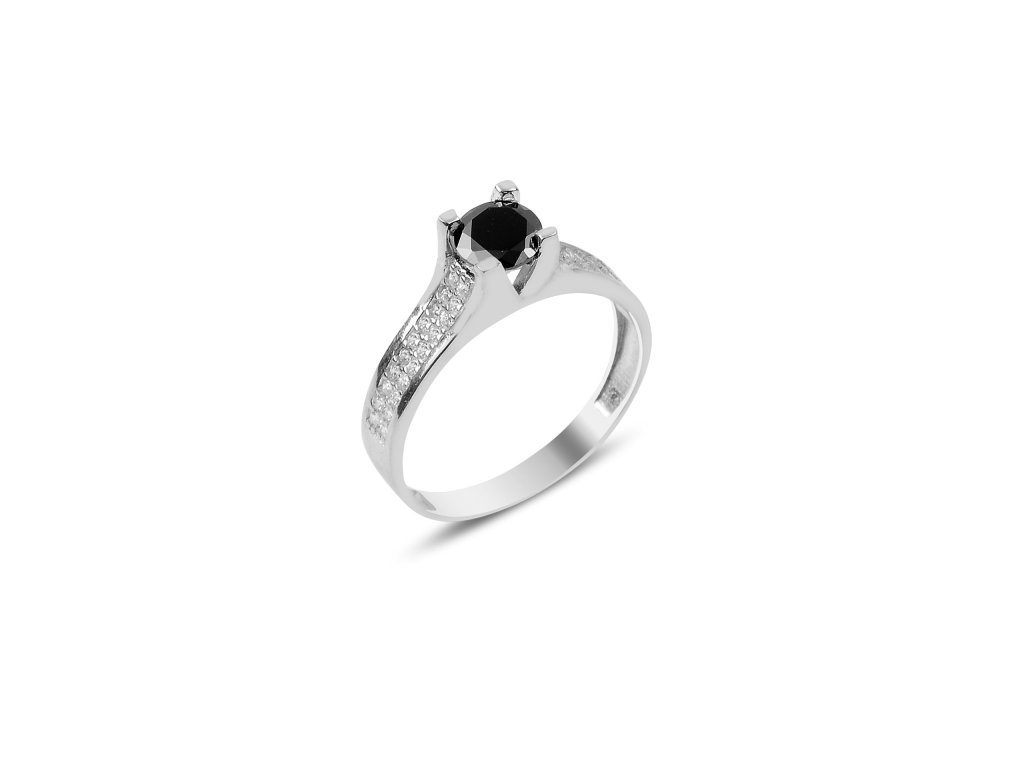 Stříbrný prsten BLACK - černý zirkon