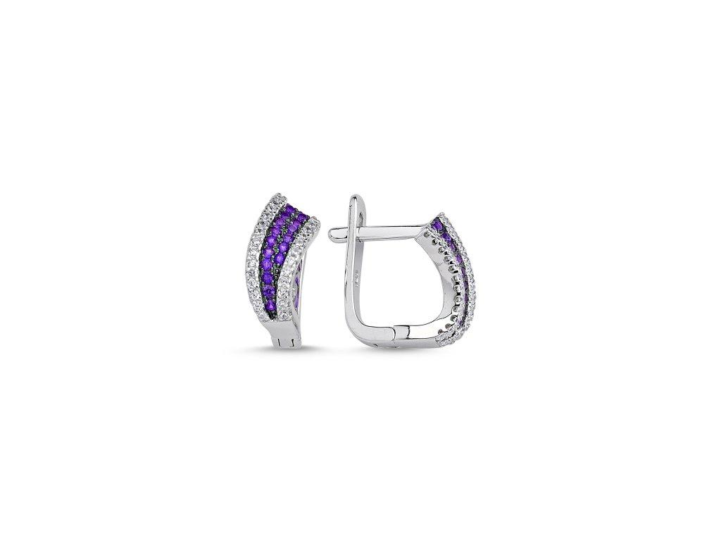 Stříbrné fialové náušnice PURPLE