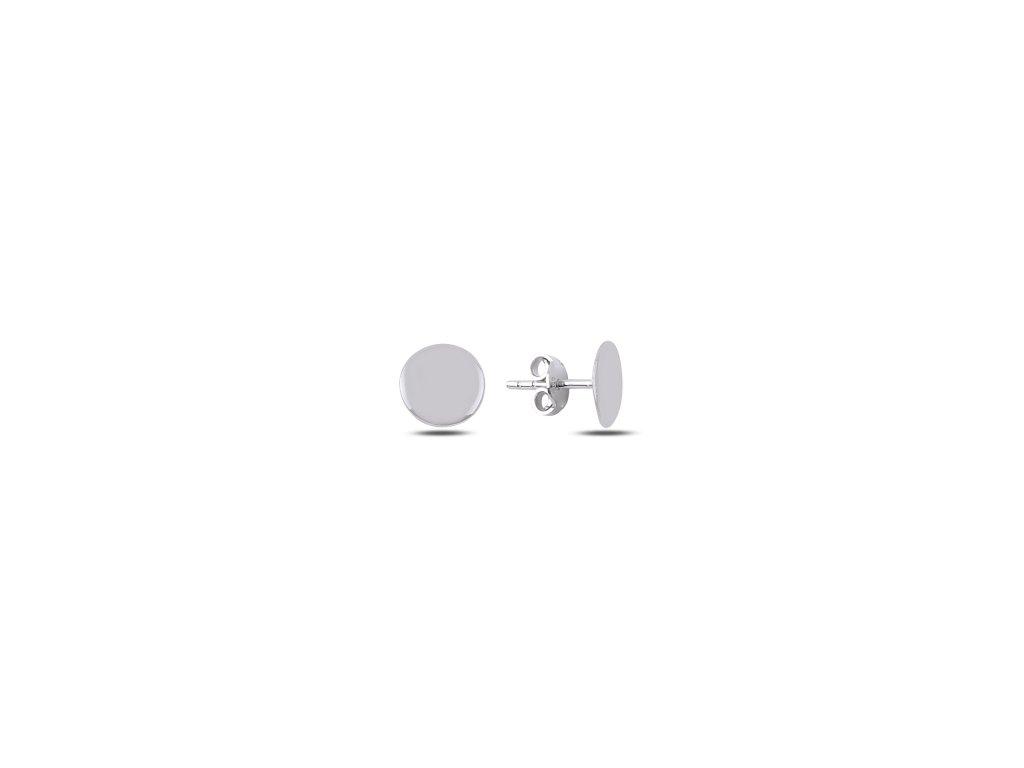 Lesklé jednoduché kulaté stříbrné náušnice PECKY