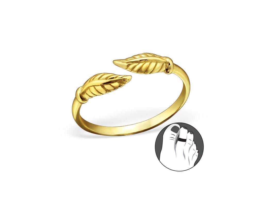 stříbrný prsten na nohu zlatý OLIVIE.cz