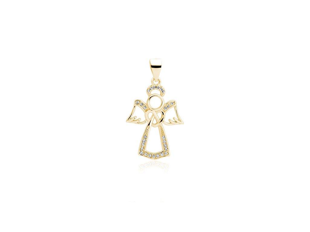 Stříbrný přívěsek ANDĚL GOLD + řetízek 50 cm