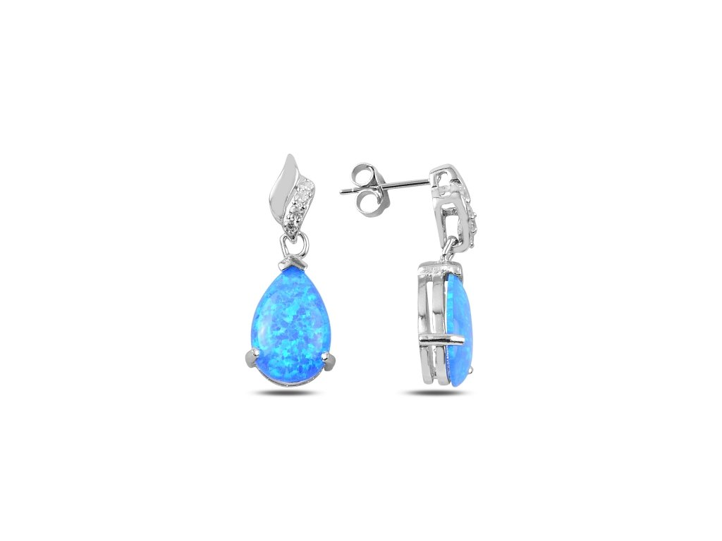 Stříbrné náušnice OPÁL - modrý