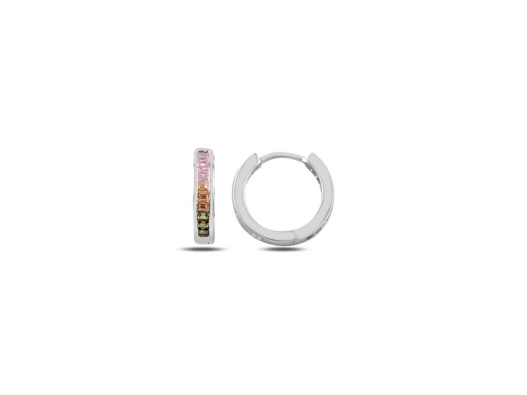Stříbrné barevné náušnice kroužky COLORS