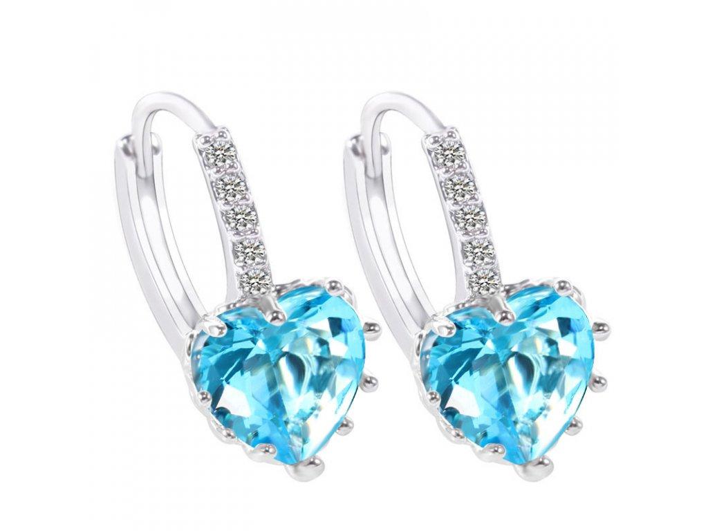 Stříbrné náušnice visací se zirkonem AQUA srdce, akvamarínový zirkon