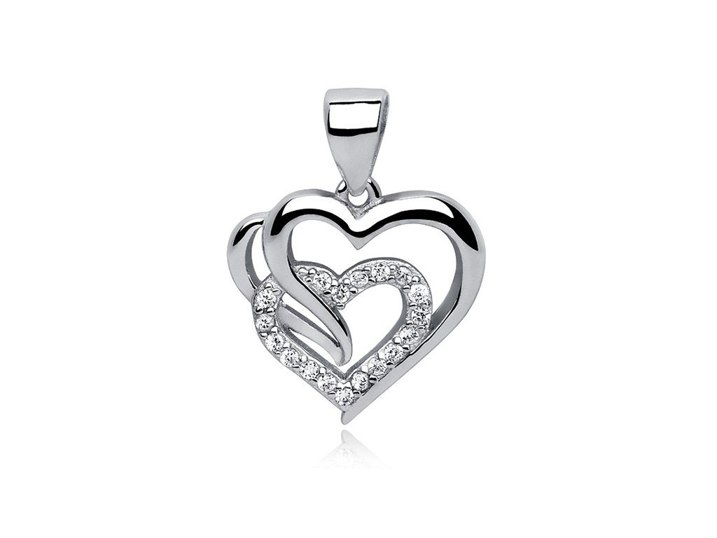 Stříbrný přívěsek SPOJENÁ SRDCE, dárek z lásky, k Valentýnu, k narozeninám