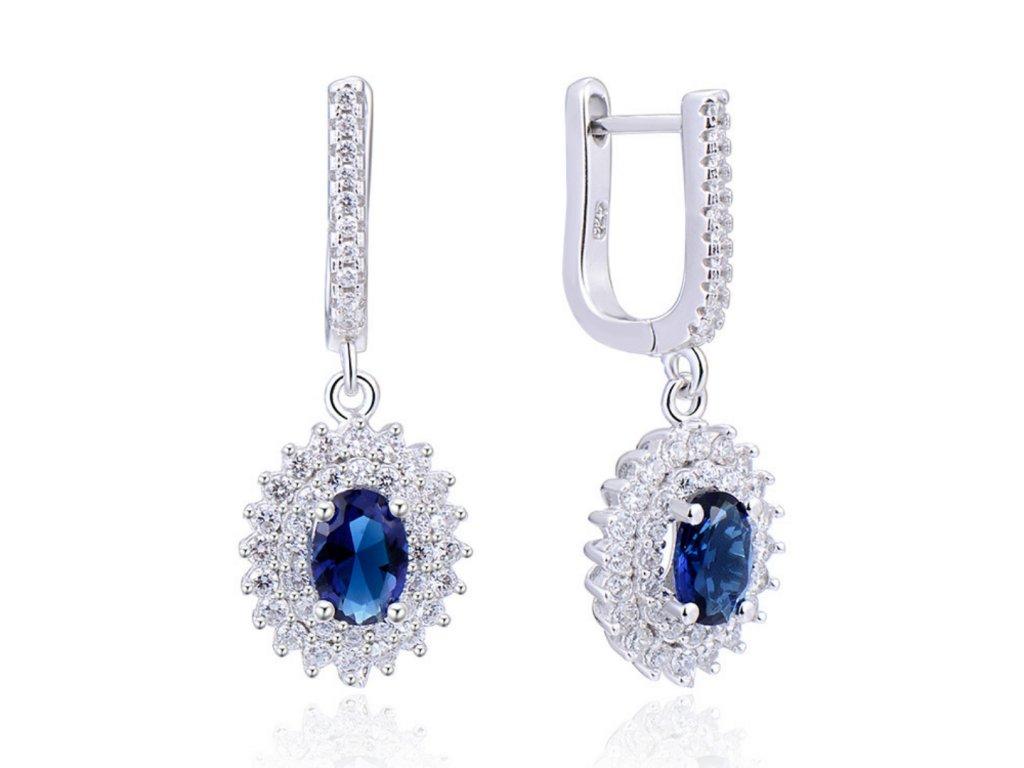 Luxusní stříbrné visací modré náušnice , dárek pro manželku, partnerku, maminku
