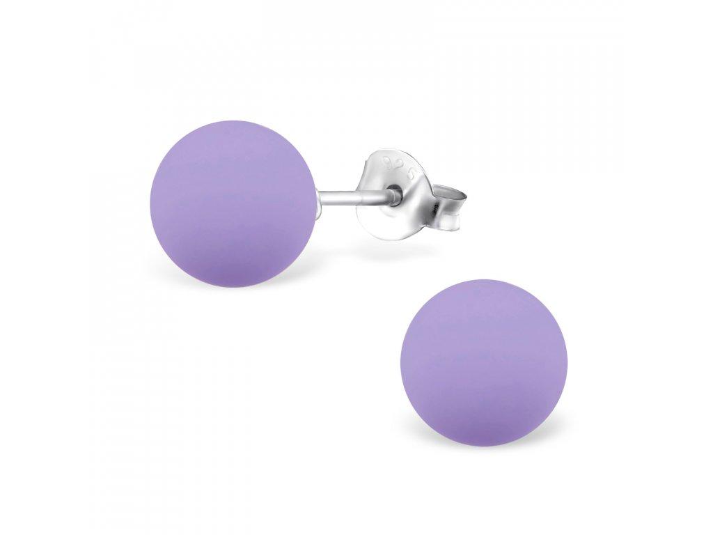 Stříbrné kuličky s fialovou pudrovou perlou