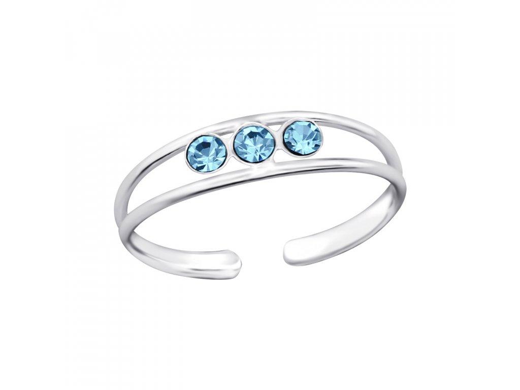 Stříbrný prsten na nohu 3 modré krystaly