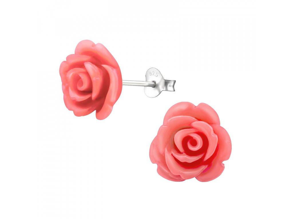 Stříbrné náušnice růže ROZÁRIE