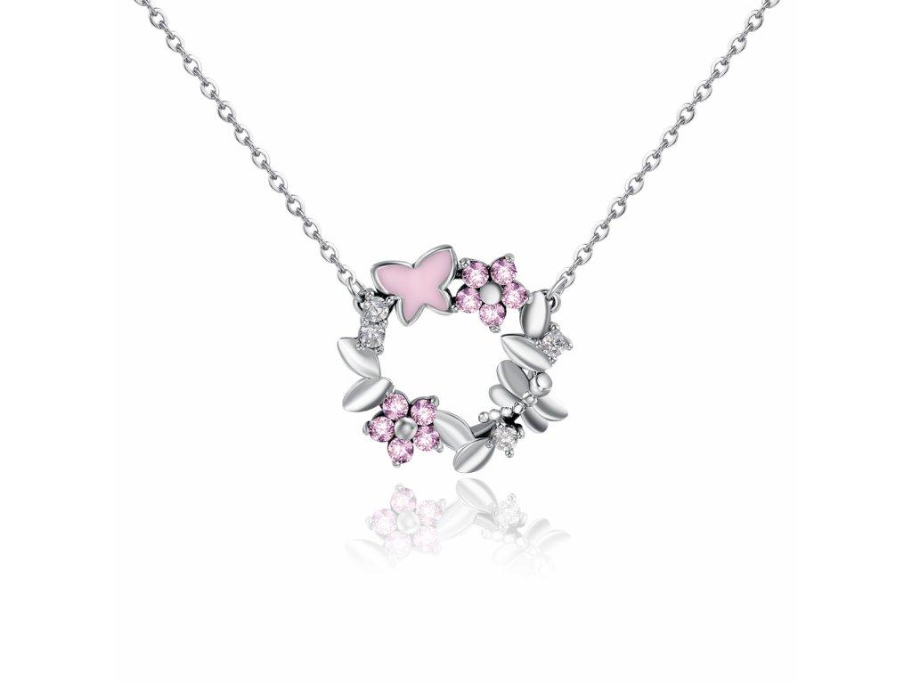 Stříbrný řetízek rozkvetlá LOUKA s růžovými květy a motýlkem od Olivie
