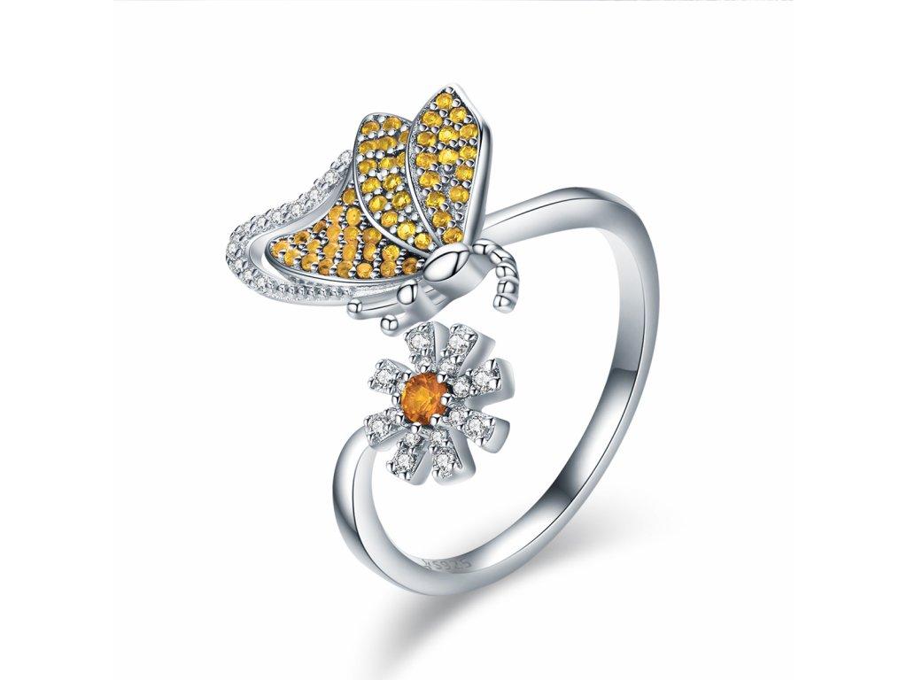 Exkluzivní stříbrný prsten MOTÝL od OLIVIE.