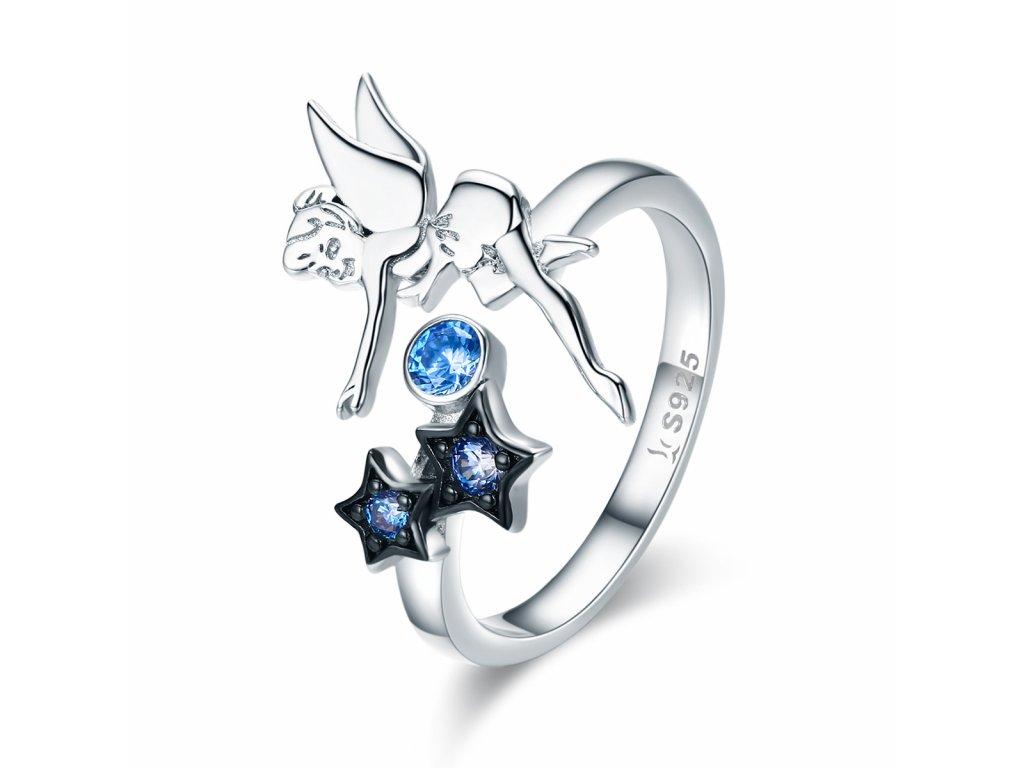 Stříbrný prsten VÍLA s modrými zirkony od OLIVIE.