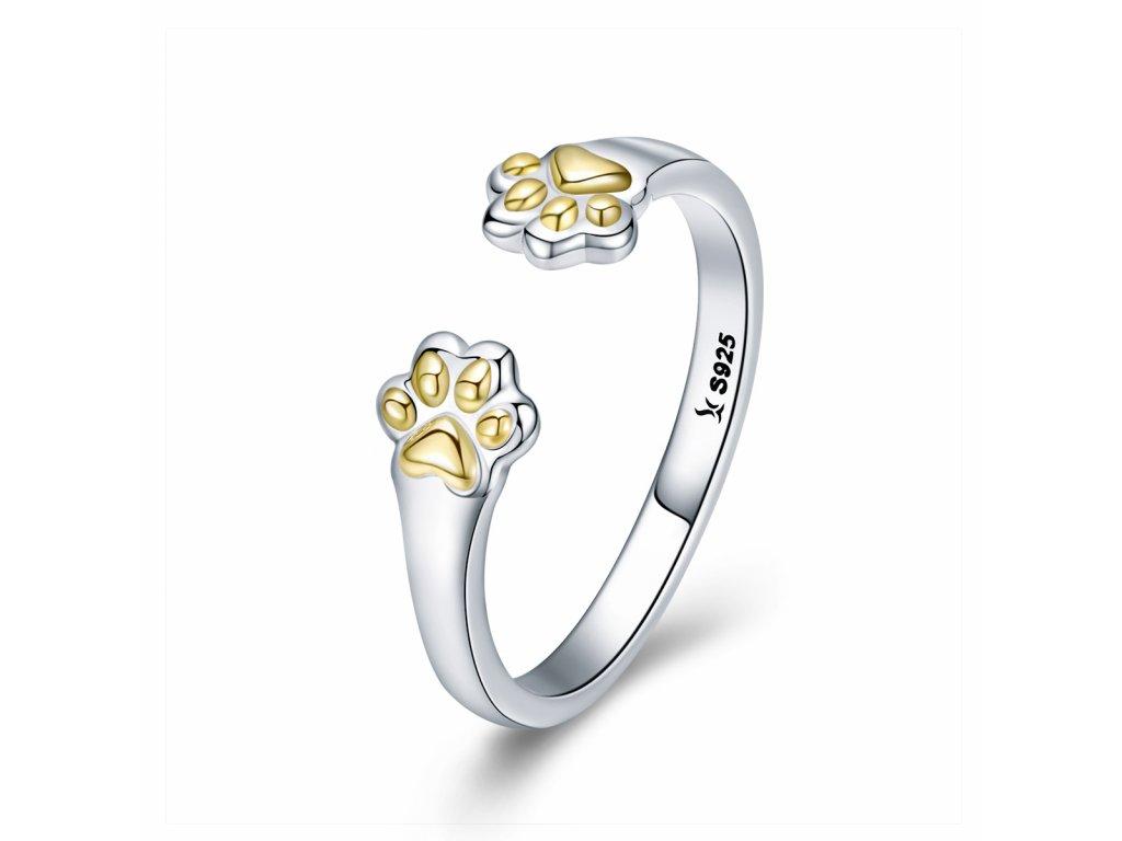 Stříbrný prsten ŽLUTÉ TLAPKY