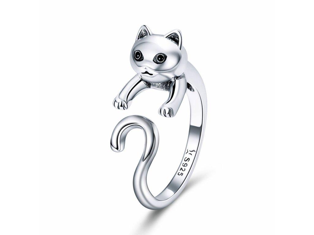 Stříbrný prsten KOČKA od OLIVIE