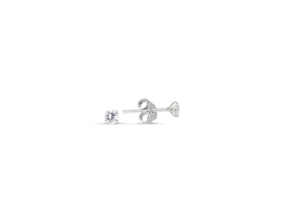 Stříbrné náušnice 3 mm ZIRKON