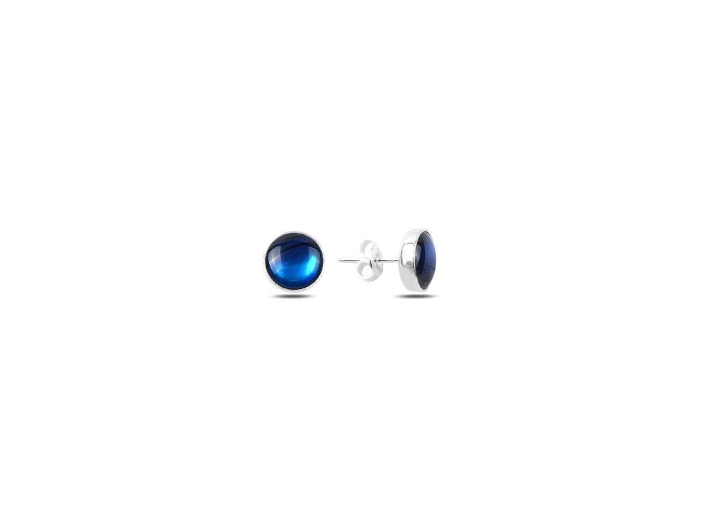 Stříbrné náušnice modrý ABALONE