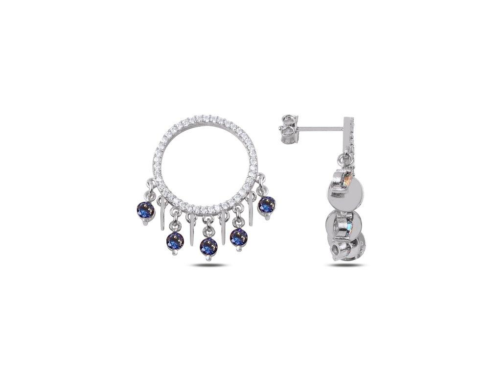 Stříbrné náušnice s modrými zirkony od OLIVIE.
